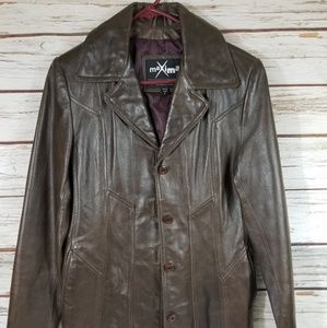 Maxima Wilson Leather Chocolate Brown Jacket